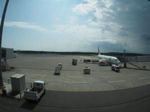 釧路空港到着…